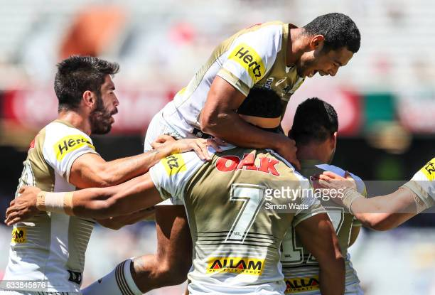 Penrith players celebrate a golden point win during the 2017 Auckland Nines quarter final match between the Penrith Panthers and the Manly Sea Eagles...