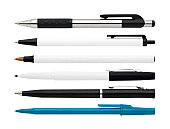 5 pens and a black marker isolated on white with their own clipping path