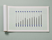 Pens on graph paper, ink levels forming a graph