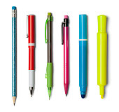 Various Pens Pencils and Markers Isolated on a White Background.