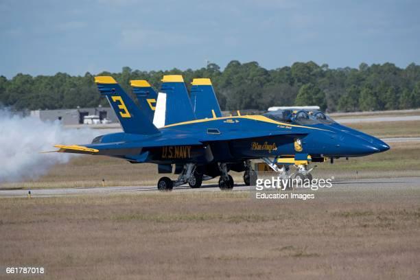 NAS Pensacola Florida USA Two Blue Angels FA 18 Hornet jets prepare for take off at their Pensacola base
