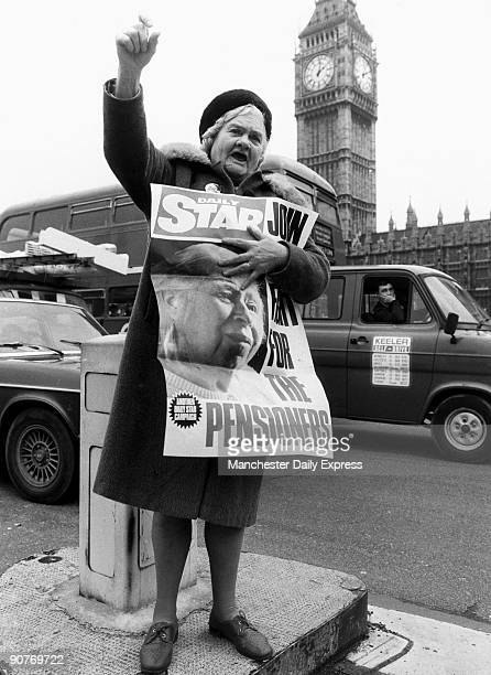 Pensioner Margaret Gould protesting about treatment of old people
