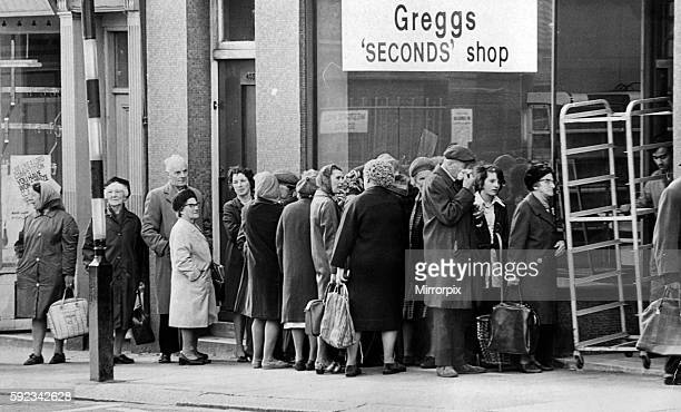 Pensioners queue outside Greggs Seconds Shop Westgate Road12th July 1974 Pensioners are allowed to buy bread at half price The goods are imperfectly...