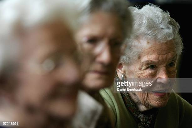 Pensioners take part in a group exercise in a day care centre on April 4 2006 in London England The State Pension Commission today defended it's...
