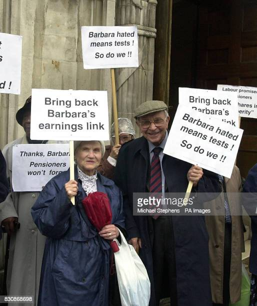 Pensions campaigner Jack Jones joins demonstrators praising pensions reforms introduced by the late Barbara Castle outside Methodist Central Hall in...