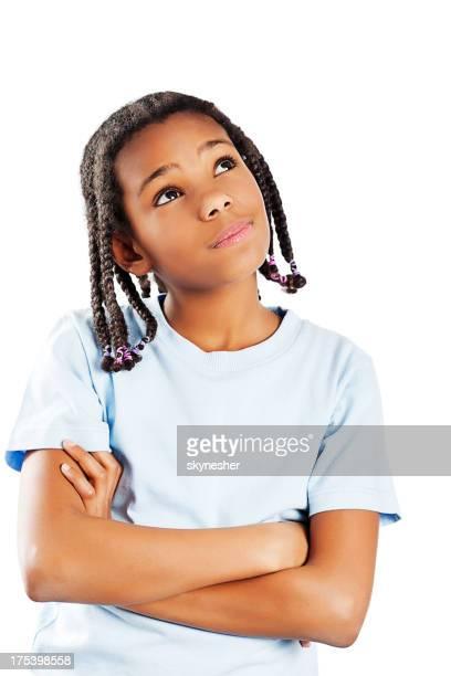 Pensive African America girl.