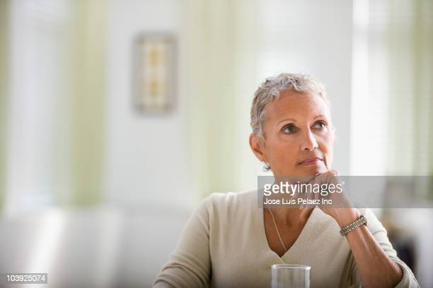 Pensive African American woman