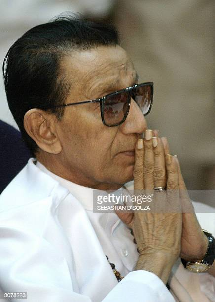 A pensive Bal Thackeray rightwing Hindu hardliner and leader of Shiv Sena party listens to a question at a press conference in Bombay 12 March 2004...