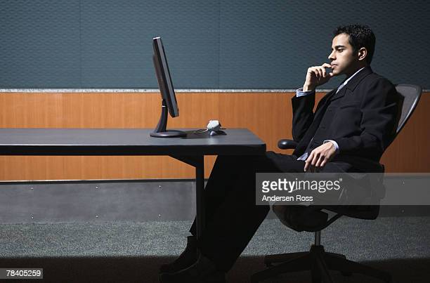 Pensive businessman in office
