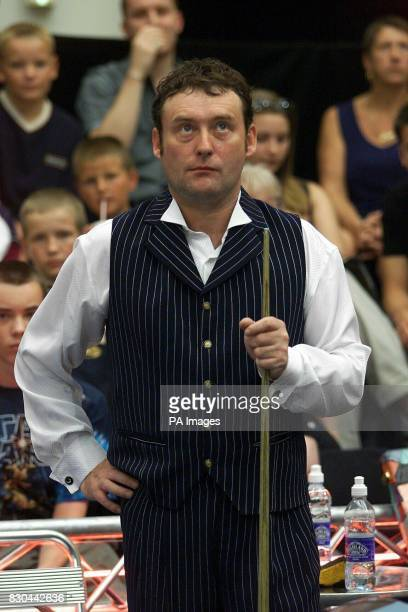 A pensive Jimmy White During the 2000 World Pool Master Tournament at The Lakeside Shopping Centre in Essex