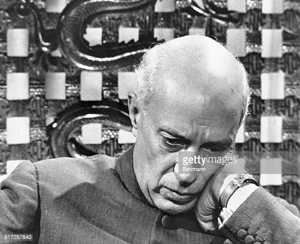 Pensive Nehru on See It Now Broadcast London England Prime Minister Jawaharlal Nehru of India is in pensive mood here as he appeared on the Edward R...