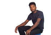 young man thinking white background studio pensive handsome relax serious