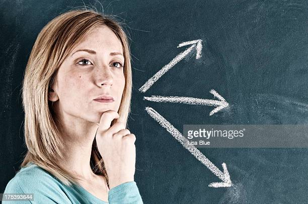 Pensive Woman and Arrow Signs.Copy Space.