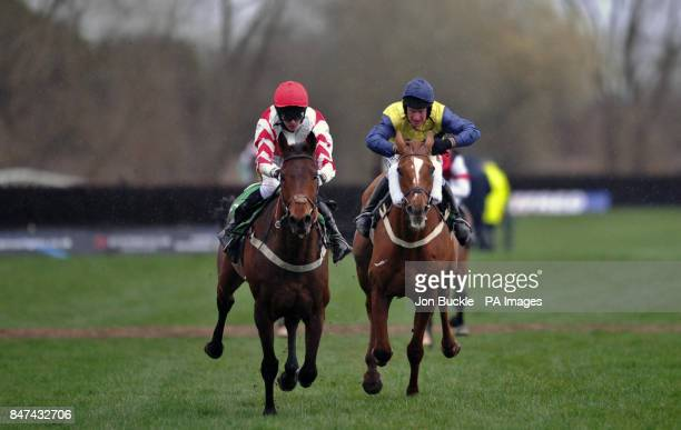 Pensnett Bay ridden by Mark Grant is beaten by Baltic Pathfinder ridden by Ryan Mania during the The Betfred 'Hat Trick Heaven' Handicap Steeple...
