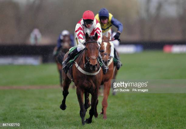 Pensnett Bay ridden by Mark Grant is beaten by Baltic Pathfinder ridden by Ryan Mania during teh The Betfred 'Hat Trick Heaven' Handicap Steeple...