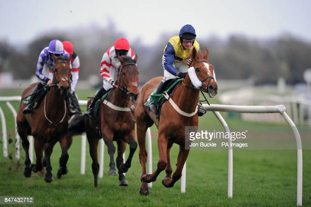 Pensnett Bay ridden by Mark Grant leads eventual winner Baltic Pathfinder during the The Betfred 'Hat Trick Heaven' Handicap Steeple Chase at...
