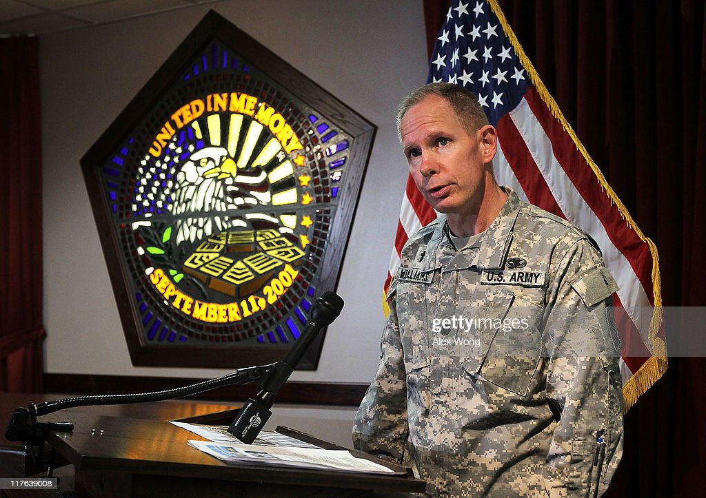 Pentagon Chaplain Ltc. <a gi-track='captionPersonalityLinkClicked' href=/galleries/search?phrase=Kenneth+Williams&family=editorial&specificpeople=228517 ng-click='$event.stopPropagation()'>Kenneth Williams</a> speaks to members of the press at the Memorial Chapel of the Pentagon during a media day event June 28, 2011 in Arlington, Virginia. This year is the 10th anniversary of 9/11 terrorist attacks on American soil.