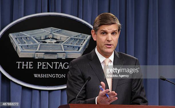 Pentagon Press Secretary Peter Cook during a press briefing with reporters at the Pentagon in Washington USA on September 10 2015