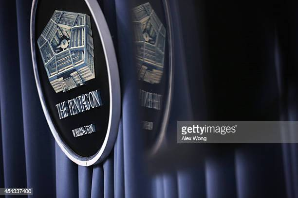 Pentagon sign is seen during a press briefing at the Pentagon Briefing Room August 29 2014 in Arlington Virginia Pentagon Press Secretary Rear...