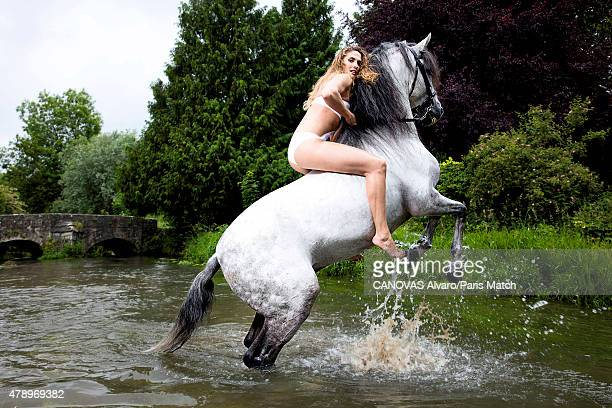 Pentathlon champion Elodie Clouvel is photographed for Paris Match with Unico a horse trained by Mario Luraschio June 18 2015 in BourglaReine France