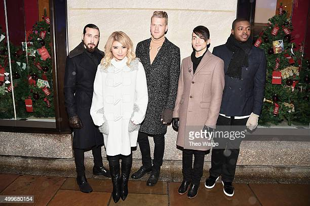 Pentatonix members Avi Kaplan Kirstie Maldonado Scott Hoying Mitch Grassi and Kevin Olusola attend the 83rd Rockefeller Center Tree Lighting on...