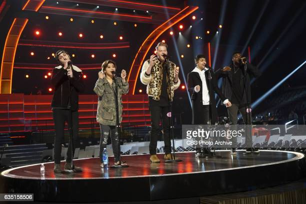 Pentatonix performs during rehearsals for THE 59TH ANNUAL GRAMMY AWARDS scheduled to broadcast live from the STAPLES Center in Los Angeles Sunday Feb...