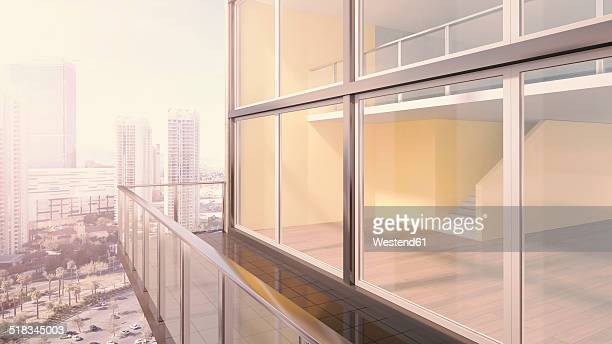 Penthouse, exterior view, 3D rendering