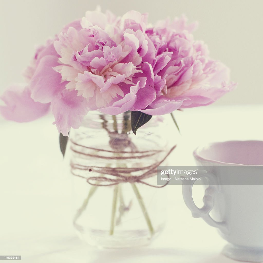 Peonies and tea