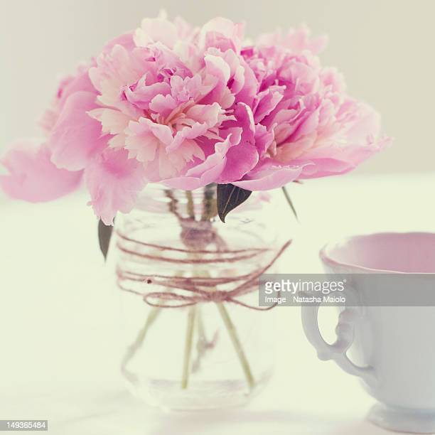 Peonies and tea
