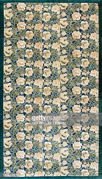 Peonies and various messages detail of motifs for a quilt or lesser shiki buton cotton with wax dyes and little masks pigments 1546x913 cm Japanese...
