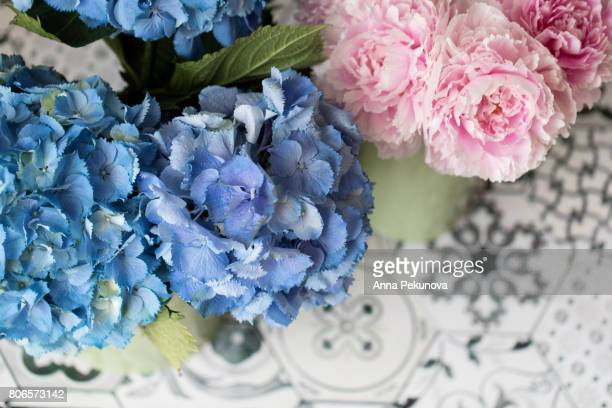 Peony and hydrangea flowers taken from above