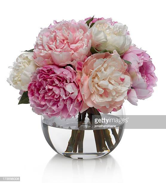 Peony Bouquet in glass bowl on a white background