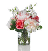 Peony, rose and sweetpea bouquet on a white background