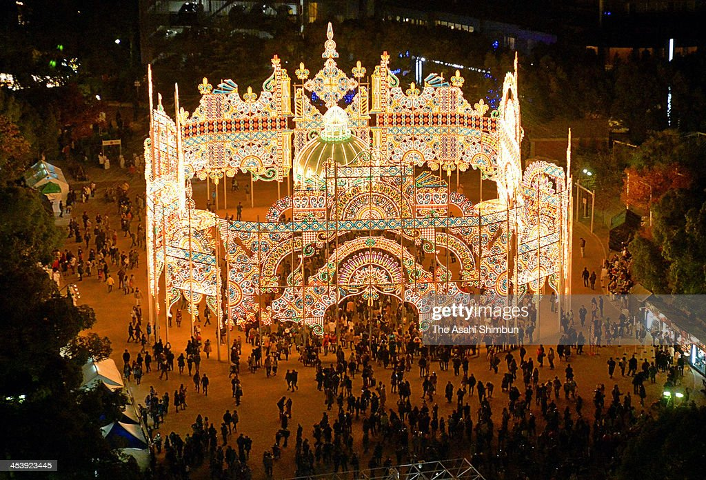 People admire the Luminarie illuminations as a part of the 19th Kobe Luminarie on December 5, 2013 in Kobe, Japan. The annual illumination event, which began in 1995 to commemorate the victims of Hanshin Awaji Great Earthquake, will be taken place from December 5 to 17 this year.