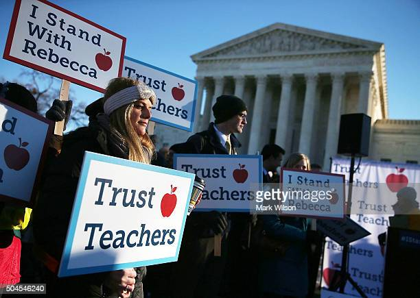 People against the California Teachers Union rally in front of the US Supreme Court building January 11 2016 in Washington DC The high court is...