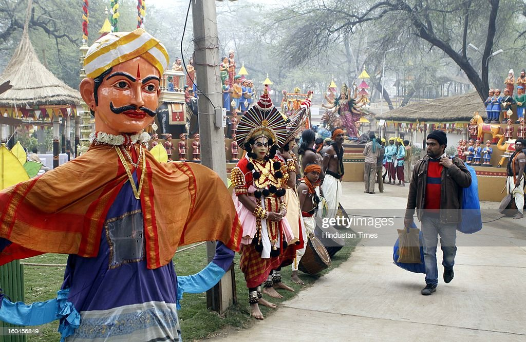 People and artists during Surajkund Mela on January 31, 2013 in Faridabad, India. The Surajkund Mela will begin on February 1, 2013, the festival this year has been upgraded as 'international', and 21 countries from Africa, Eurasia and SAARC nations would participate.