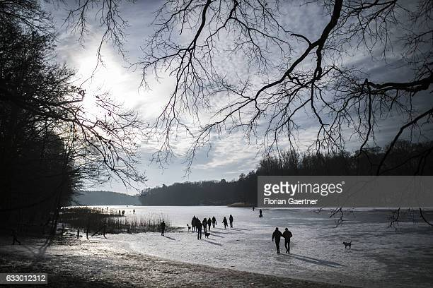 People and dogs walk on the frozen lake 'Grunewaldsee' on January 29 2017 in Berlin Germany
