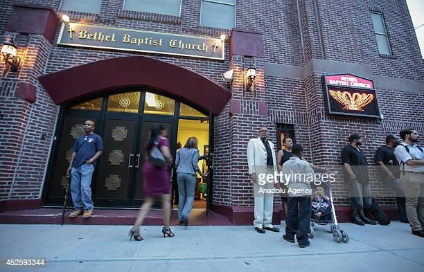 People and relatives of Eric Garner died on a city street after NYPD cops put him in a banned chokehold attend the funeral ceremony at Bethel Baptist...