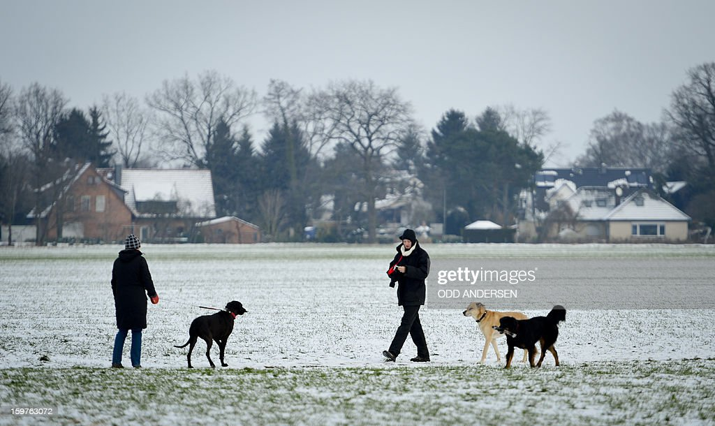 People are pictured as they walk to a polling station at the Friedrich-Dierks Schule in Isernhagen on January 20, 2013 on polling day of the local elections in the central German state of Lower Saxony. The vote is largely seen as a test run for autumn's federal election in September.