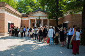 People are pictured queuing for the US Pavillion at the Venice Biennale May 2015
