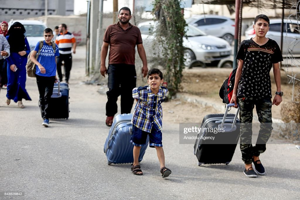 People are seen at the Rafah border gate, which is Gaza's only access to the outside world, after Egyptian authorities temporarily reopened it both directions in Gaza Strip, Gaza on June 29, 2016. Students, patients, people with residence permit and passport owners are allowed to cross to border.