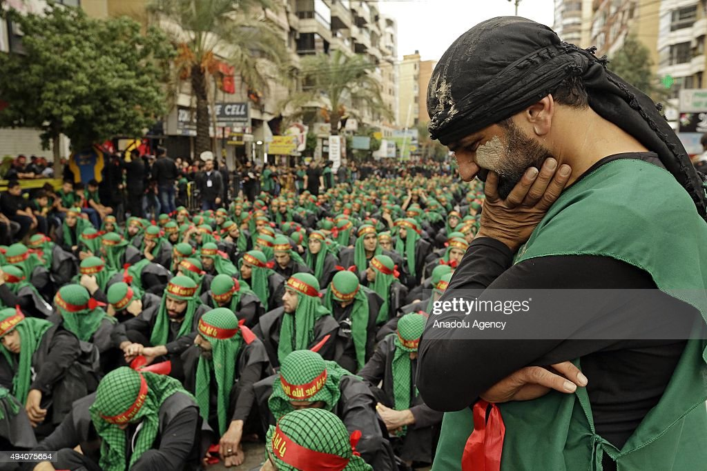 People are seen during a Ashura Day mourning ceremony which SecretaryGeneral of Hezbollah Hassan Nasrallah gave a speech in Beirut Lebanon on October...