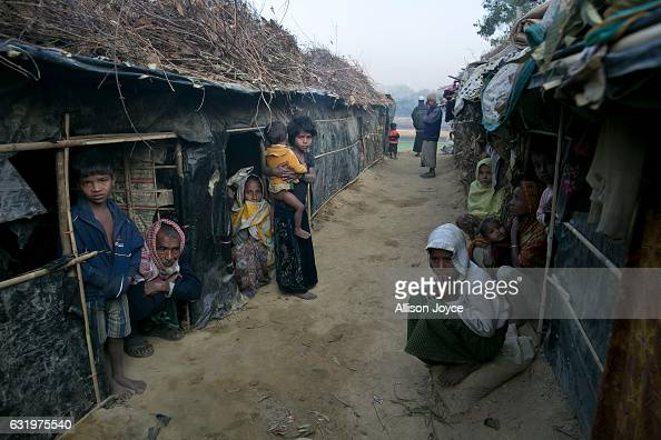 People are seen in Kutapalong unregistered camp on January 18 2017 in Coxs Bazar Bangladesh More than 65000 Rohingya Muslims have fled to Bangladesh...