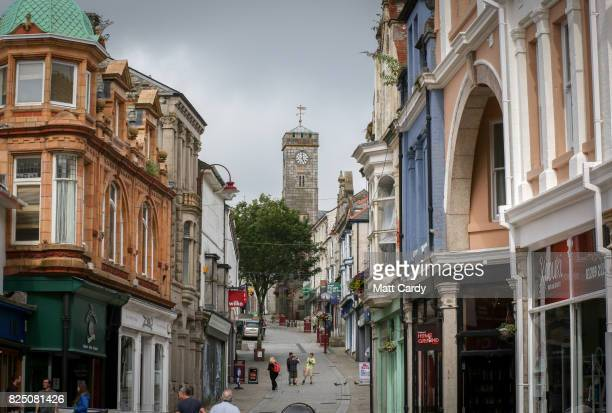 People are seen in the main street in Redruth on July 24 2017 in Cornwall England Figures released by Eurostat in 2014 named the British county of...