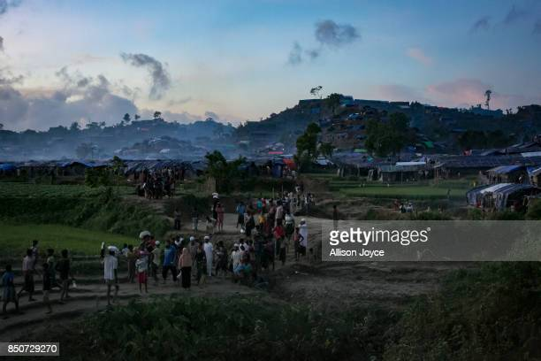 COX'S BAZAR BANGLADESH SEPTEMBER 21 People are seen in the Unchiprang Rohingya refugee camp on September 21 2017 in Cox's Bazar Bangladesh Over...