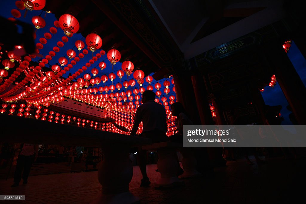 People are seen inside the Thean Hou temple with lanterns decorated ahead of Lunar New Year of the monkey celebrations on February 6, 2016 in Kuala Lumpur, Malaysia. According to the Chinese Calendar, the Lunar New Year which falls on February 8 this year marks the Year of the Monkey, the Chinese Lunar New Year also known as the Spring Festival is celebrated from the first day of the first month of the lunar year and ends with Lantern Festival on the Fifteenth day.