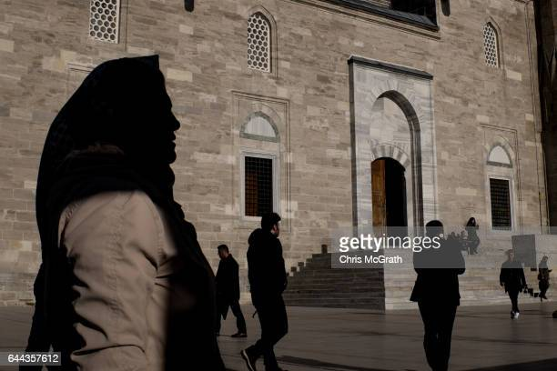 people are seen outside the Fatih Mosque ahead of prayer on February 23 2017 in Istanbul Turkey Turkey will hold its constitutional referendum on...