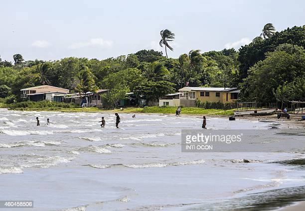 People are seen swimming in Cocibolca lake in Rivas Nicaragua on December 11 2014 The inhabitants of the area are against the construction of an...