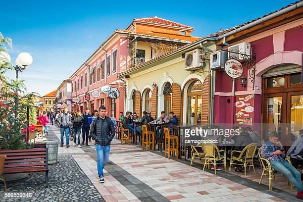 People are walking in colorful Shkoder streets in Albania