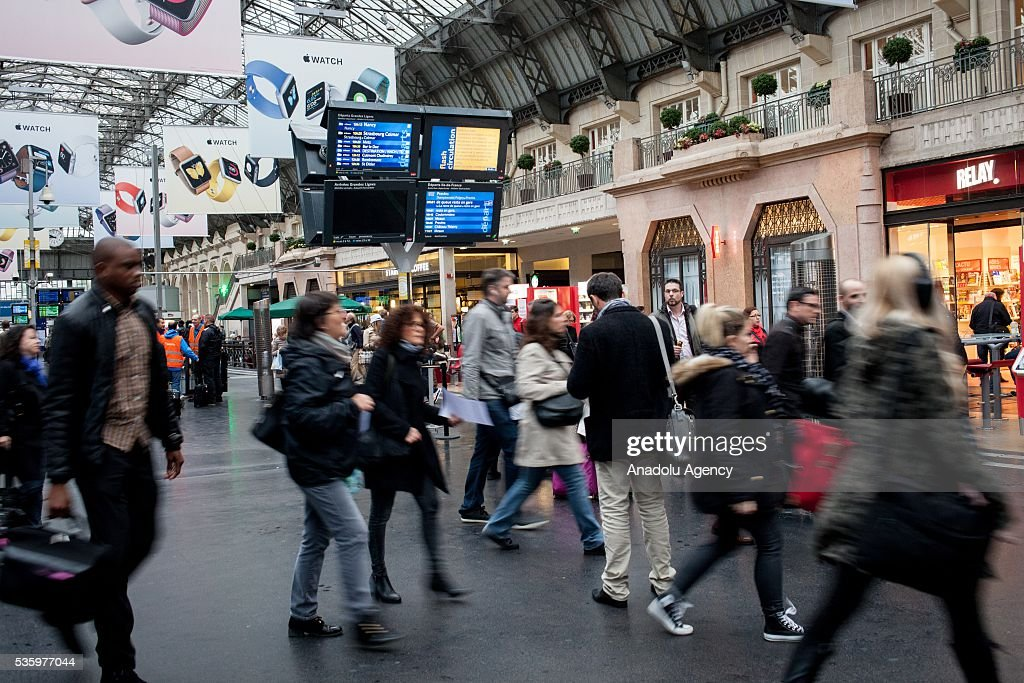 People arrive at Paris Gare de l'Est Train Station from de suburbs to work during the beginning of railroad strike Paris, France on May 31, 2016.